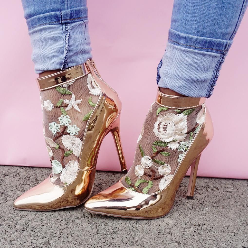 87f005b4f6 Rose Gold Floral Mesh Accent Pointy Toe Single Sole High Heels ...