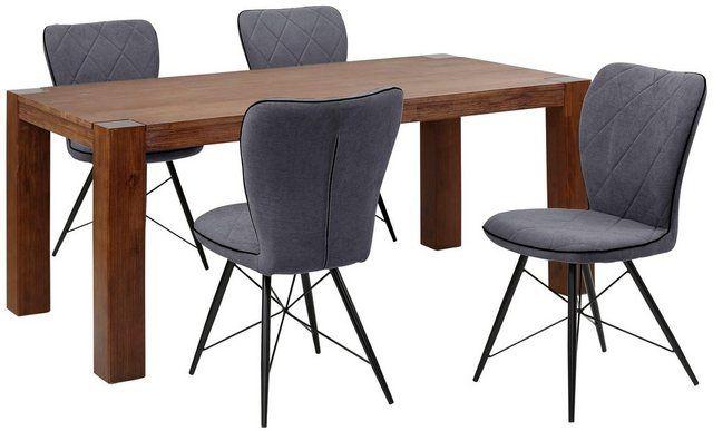 Essgruppe Gimbi Set 5 Tlg Bestehend Aus 1 Esstisch Aus Massivem Holz Und 4 Stuhlen Mit Schone Haus Deko Massiv Tisch Wohnung