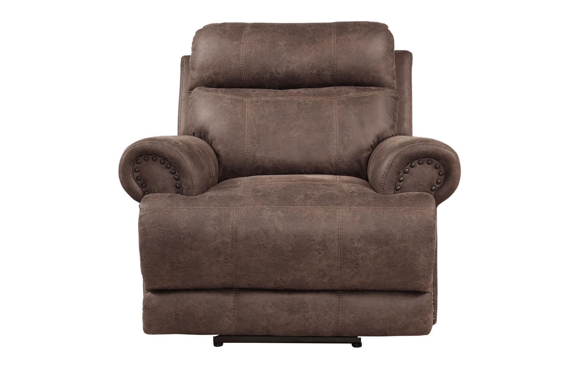 Polyester Glider Recliner Chair With Nail Head Trims Dark Brown Glider Recliner Chair Glider Recliner Recliner