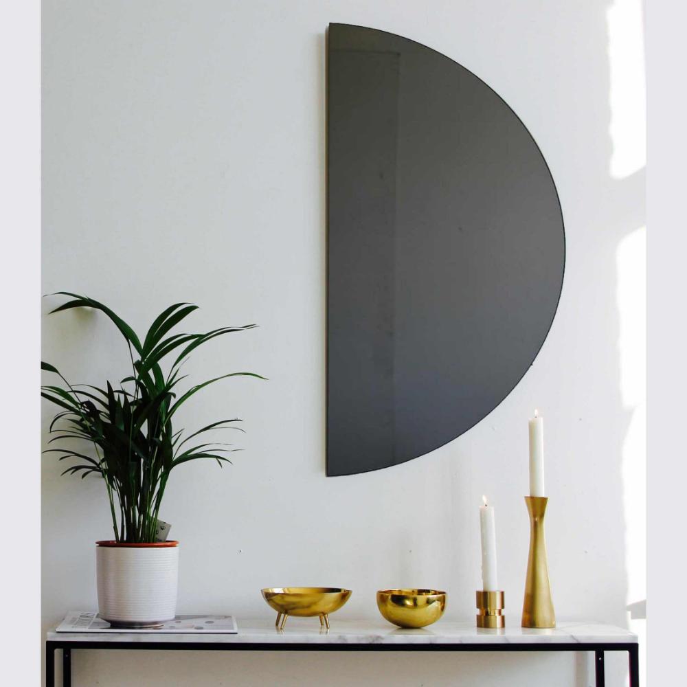 Minimalist Black Tinted Bathroom Wall Mirror Frameless Medium Customisable For Sale At 1stdibs Tinted Mirror Modern Mirror Wall Mirror Wall