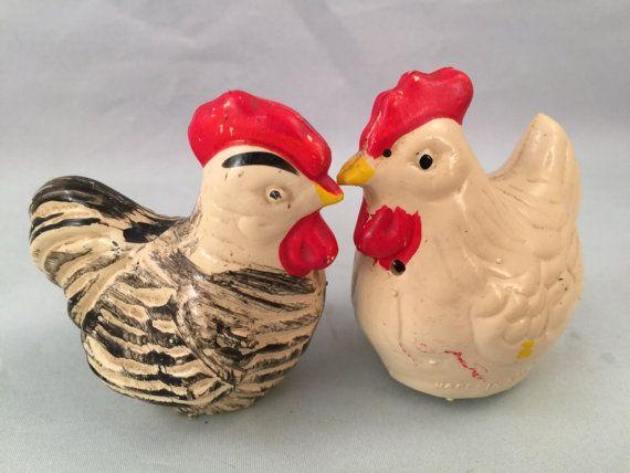 Rustic Kitchen Decor Primitive Ceramic Chicken and Eggs Salt /& Pepper Set