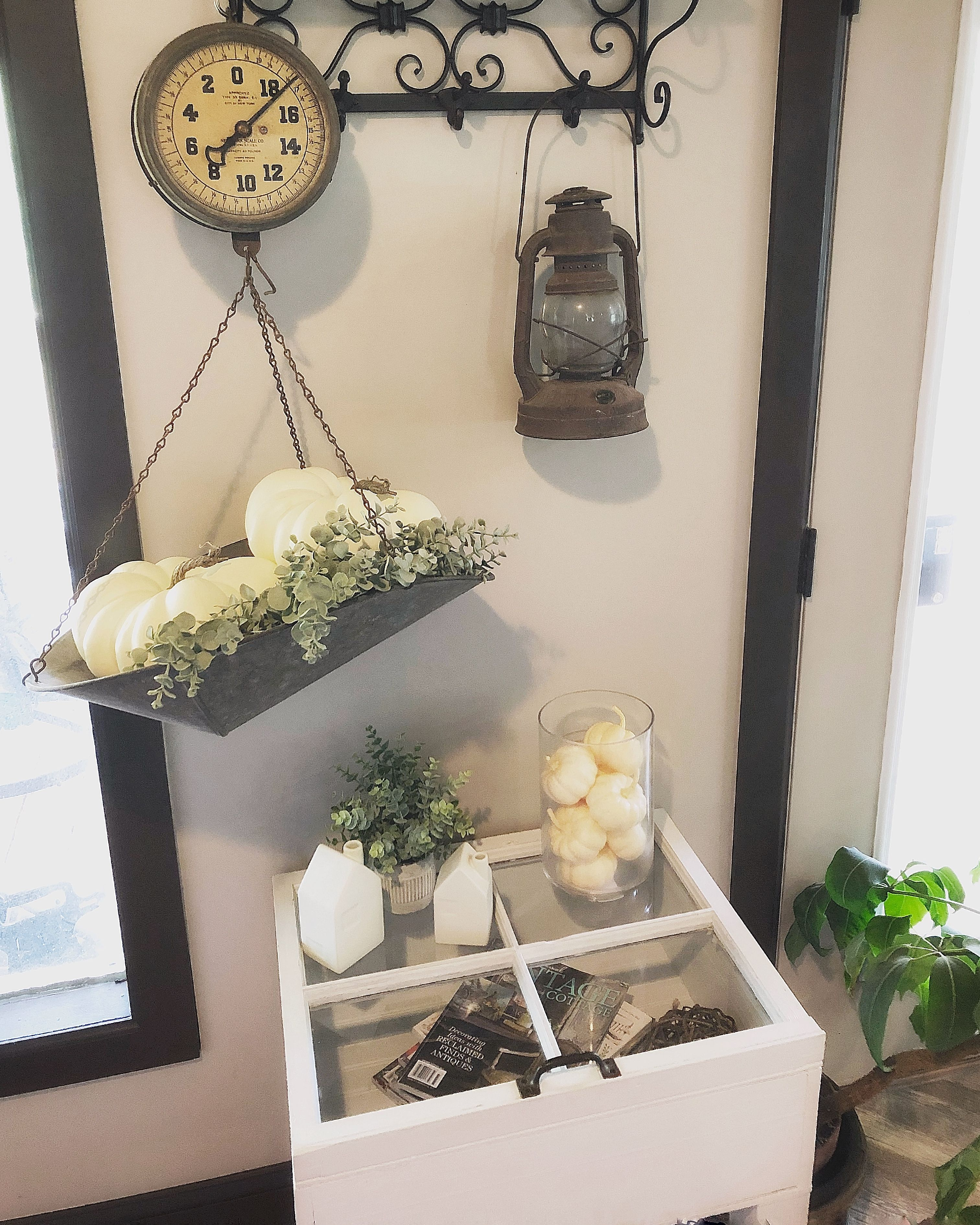 Hanging Antique Scale Decorated For Fall Corner Decor Decor