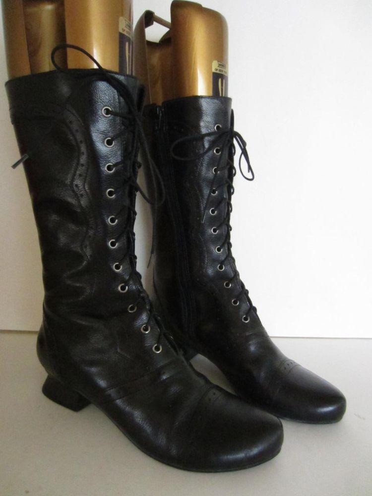 1b6ae294408 J. JILL Black Leather Tall Granny Boots Victorian Steampunk Lace Up 6.5  #JJill #FashionMidCalf