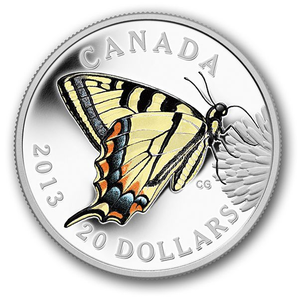 2013 $20 Pure Silver Coin - Butterflies of Canada: Canadian Tiger Swallowtail