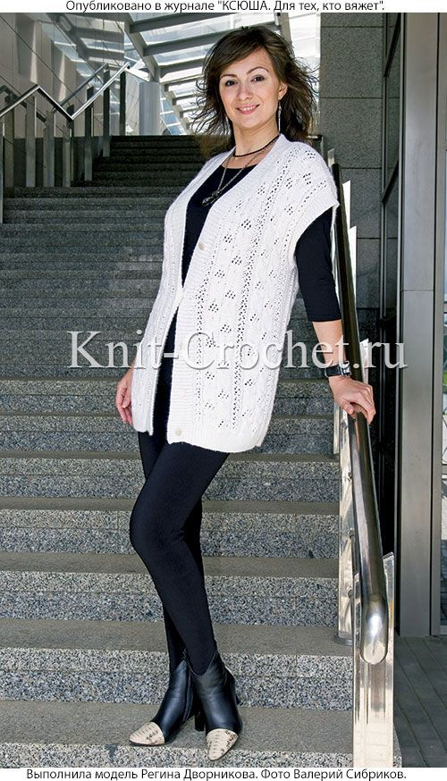 женский жилет размера 50 52 связанный на спицах Bayan örgü Yelek