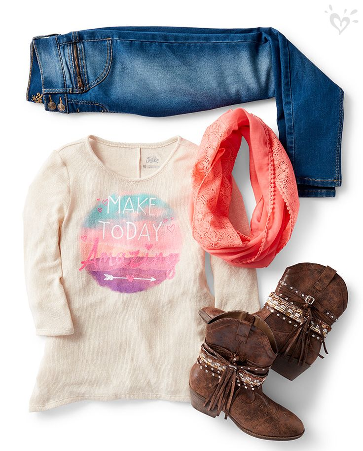 For an outfit with western flair, pair a soft graphic top with your favorite jeans and boots.