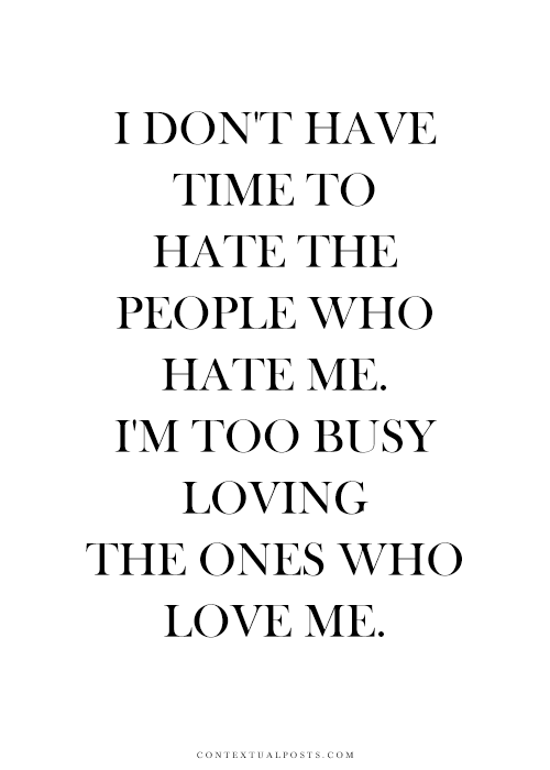 I'm too busy...