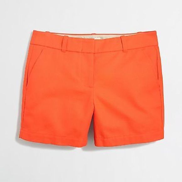 "[ J. Crew ] Factory Textured Cotton Short Perfect condition! Textured Size 0 J. Crew Shorts in Royal Orange. Medium weight, slash from pockets, back welt pockets. Fits true to size. These are 5"" inseam but have been washed and inseam is a bit shorter now. Around 4.5"" J. Crew Shorts"
