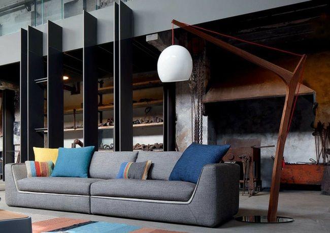 wohnzimmer grau sofa stehlampe design deko kissen | stehlampen ... - Design Wohnzimmer Couch