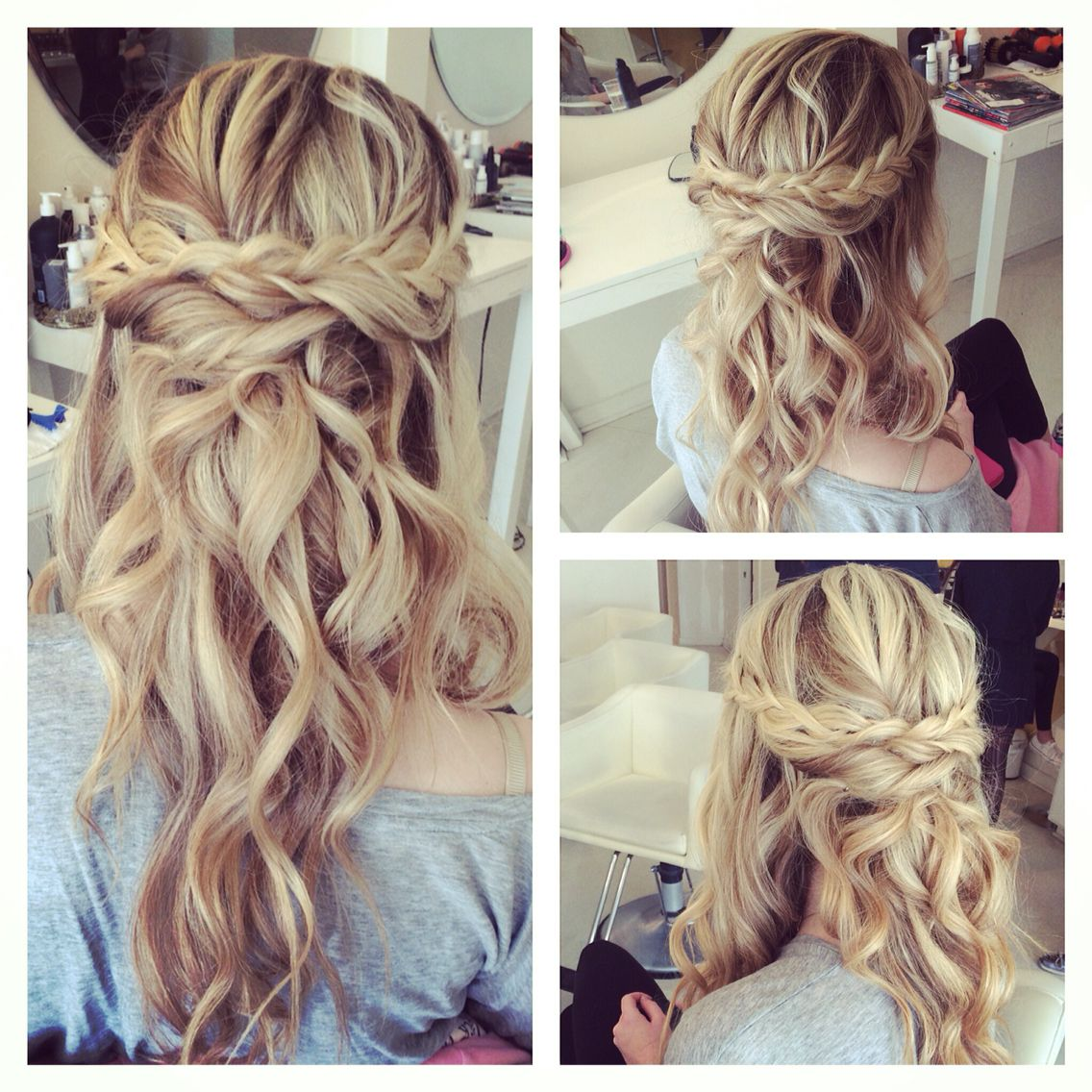 Beachy half up half down with braids the cutest formal inspo