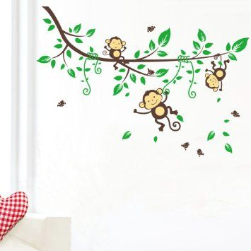 WallStickers Decal Three Monkey Climb On The Vine Wall Sticker For - Wall decals kids roomcartoon monkey climbing flower vine wall decals kids room nursery