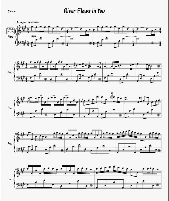 All Music Chords sheet music for river flows in you : 1 Yiruma - River Flows in You | Partituras para Piano | Music ...