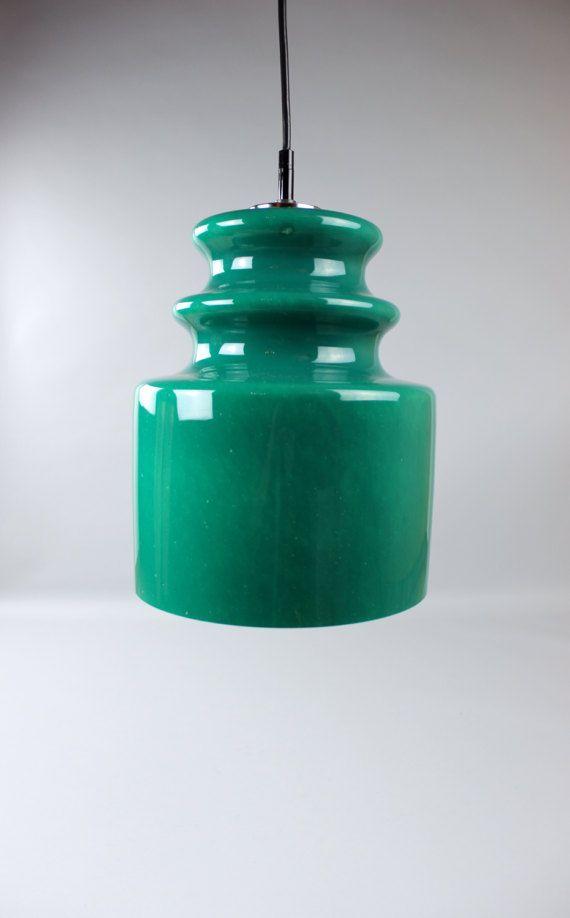Vintage Peill Putzler Glass Lamp Opal Glass Hanging Lamp Ceiling Lamp Green West Germany 70s Deckenlampe Vintage Hange Lampe