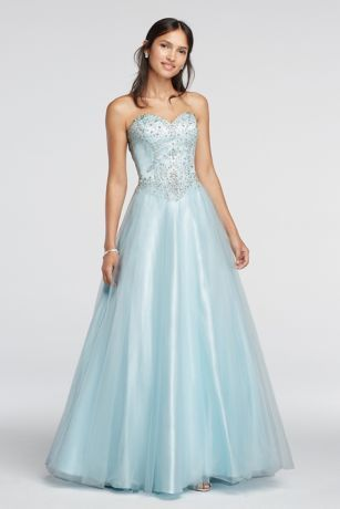 Crystal Embellished Drop Waist Tulle Prom Dress Style 50907 ...