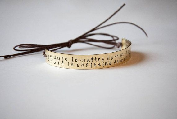 Semi rigid bracelet with long quote engraved by SilviaWithLove