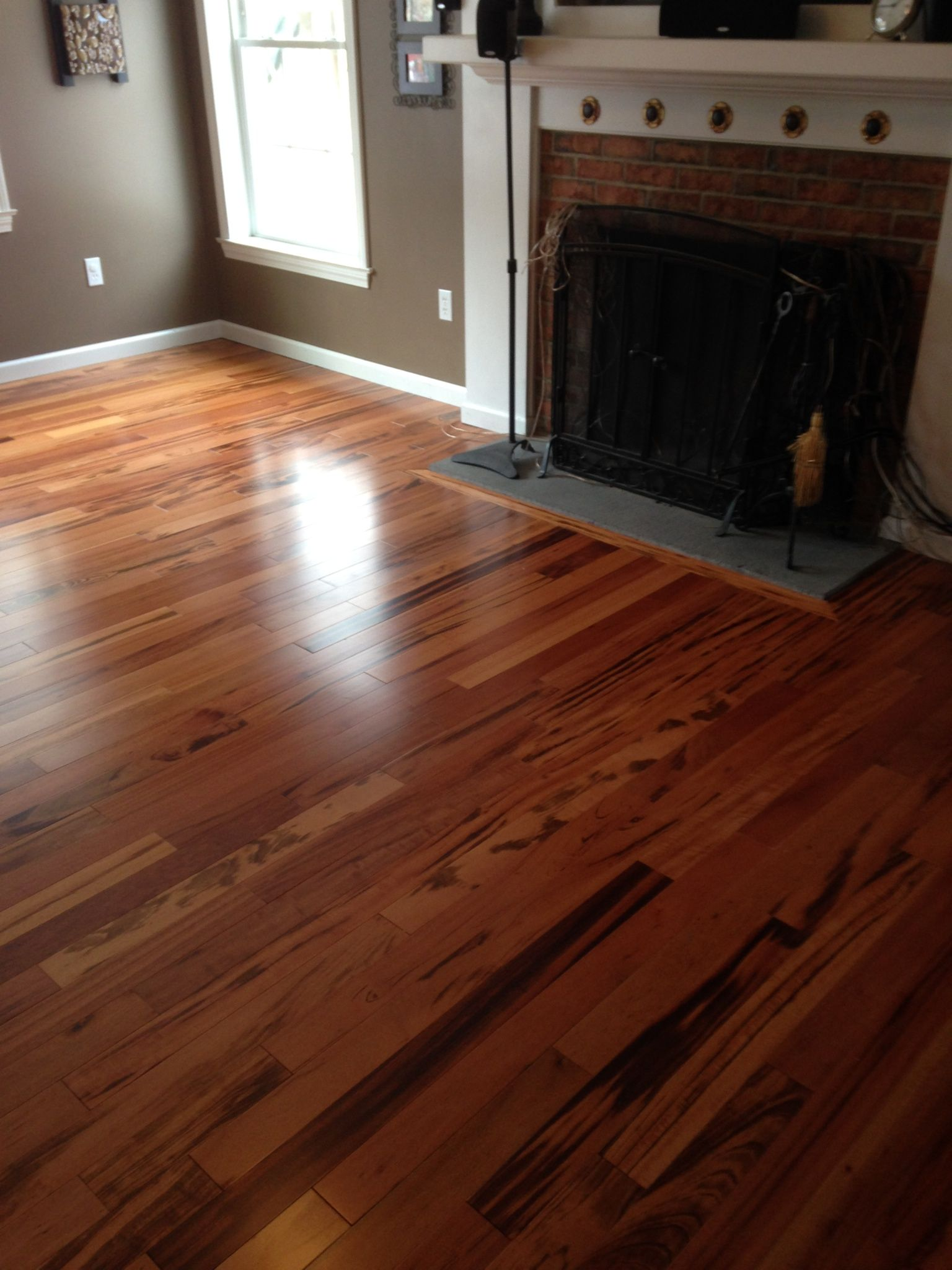 "Solid 3 1/4"" Brazilian Tigerwood hardwood installed in"