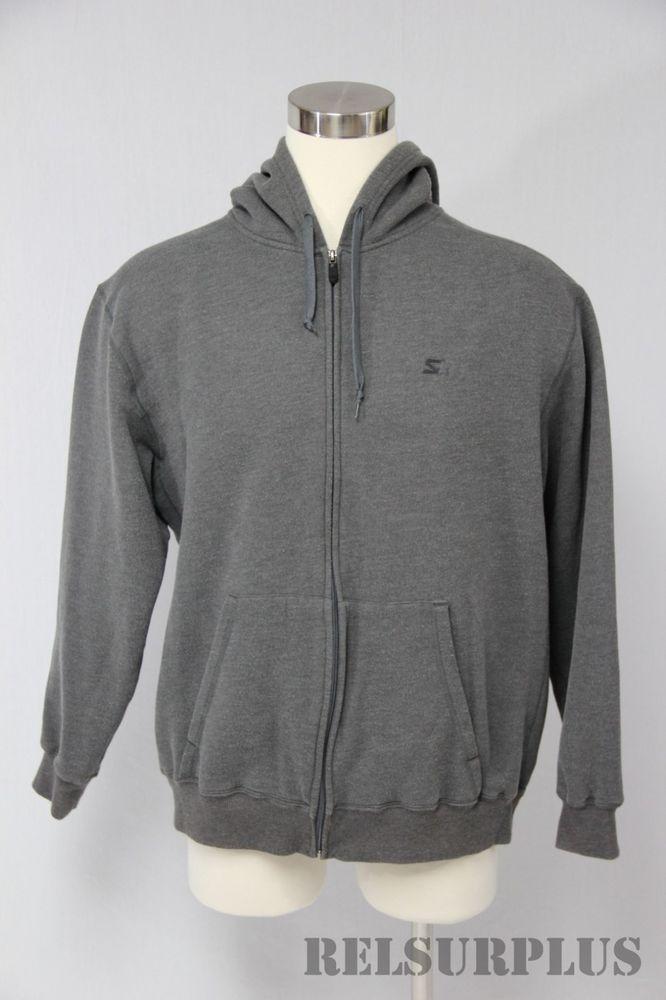 Starter Size Large Lg Gray Full Zip Fleece Lined Jacket Hoodie  Starter   Hoodie 441ffe52d9