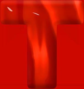 Presentation Alphabets Red Glass Letter T Alphabet Red Glass Letter T
