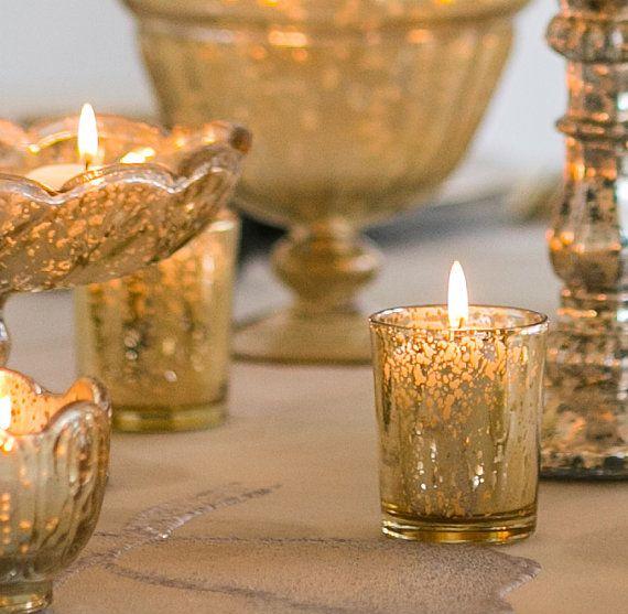 30 Gold Mercury Glass Votive Holders Votive Candle Candle Holder