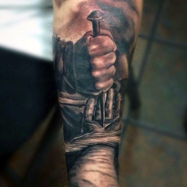Manly Christian Tattoo Designs For Men On Inner Forearm ... Inner Arm Religious Tattoos