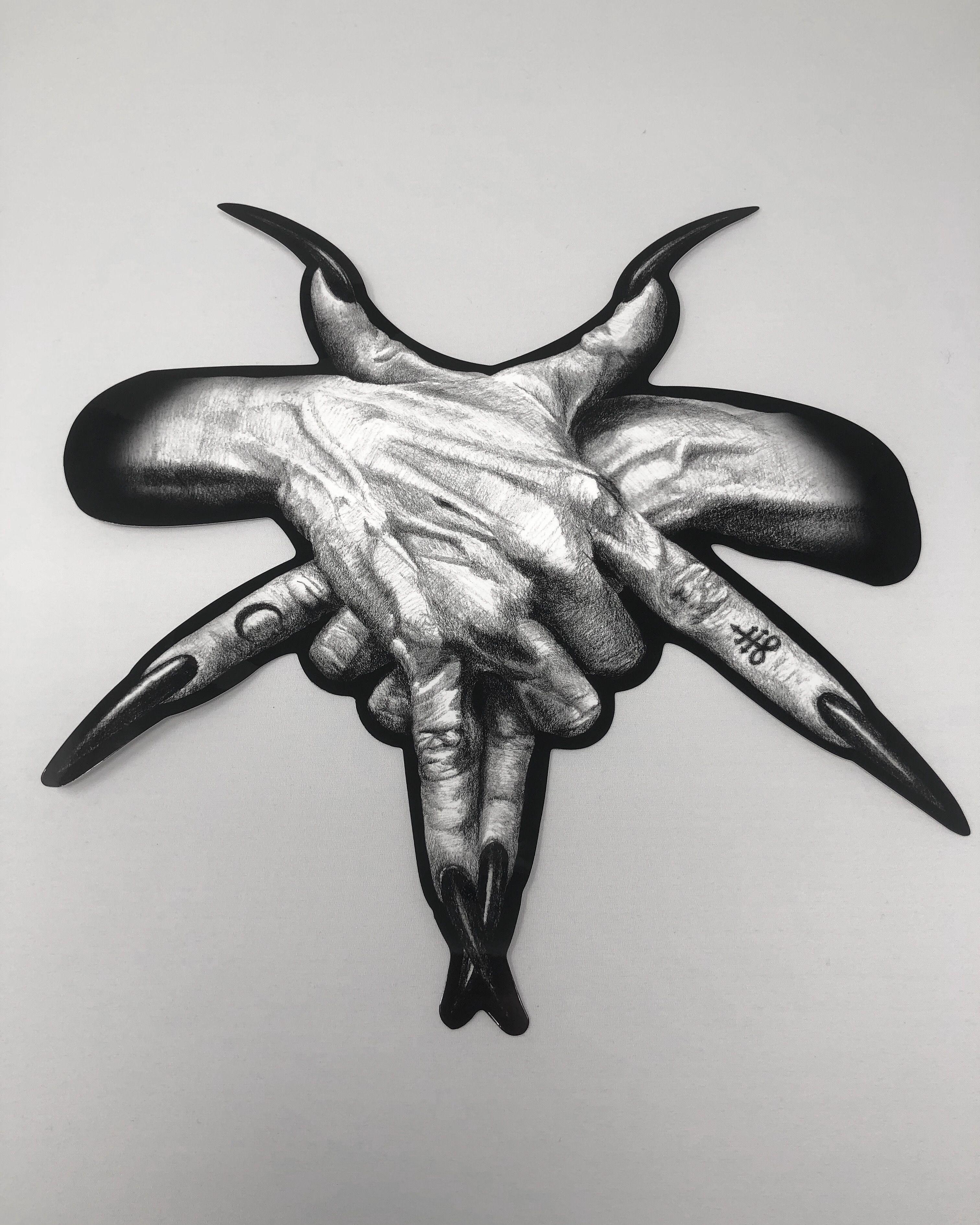 Pentagram Hands Sticker 9x9