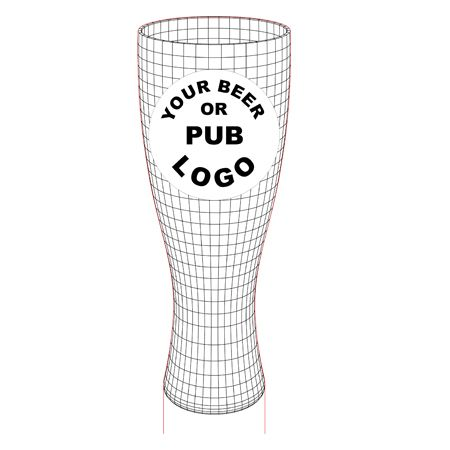 Beer glass 3d illusion lamp vector file for CNC - 3bee-studio