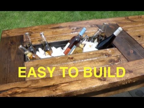 LEARN HOW TO MAKE A FARMHOUSE TABLE OUTDOOR TABLE WITH BUILT IN