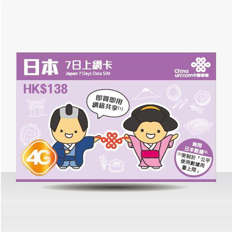 4G日本7日上網卡(無限^)   China unicom, Sim cards, Japan