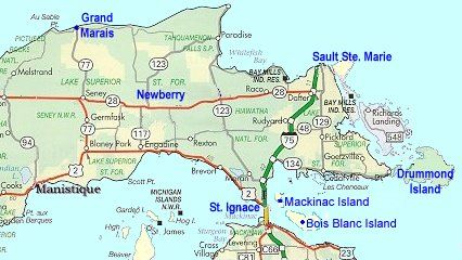 Map of Eastern Upper Peninsula of Michigan. | Trips | Pinterest