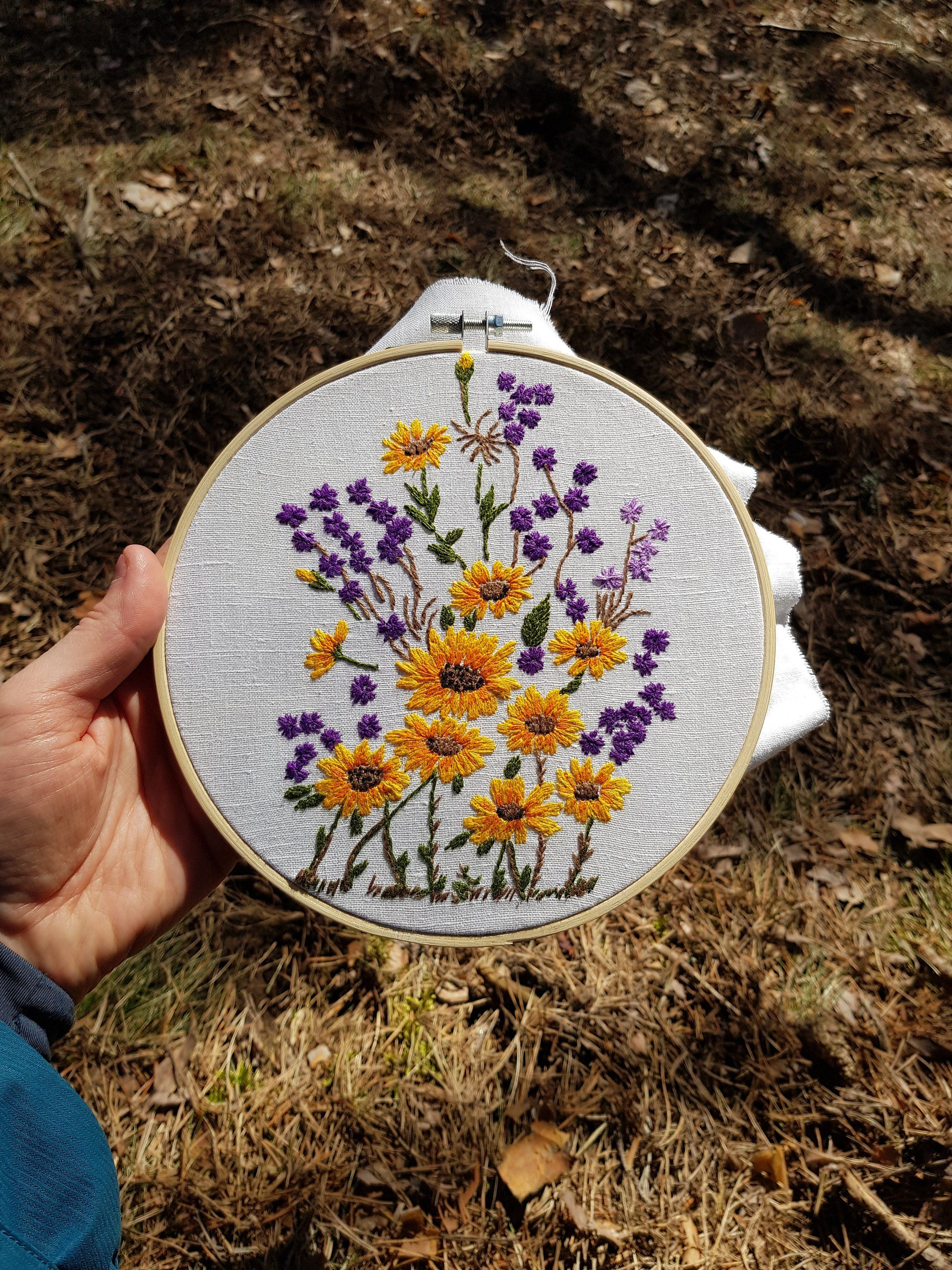 Wildflowers Embroidery Hoop Daisy Bouquet Yellow And Purple Floral Wall Art Embroidered Home D Purple Floral Wall Art Embroidery Hoop Embroidery Inspiration