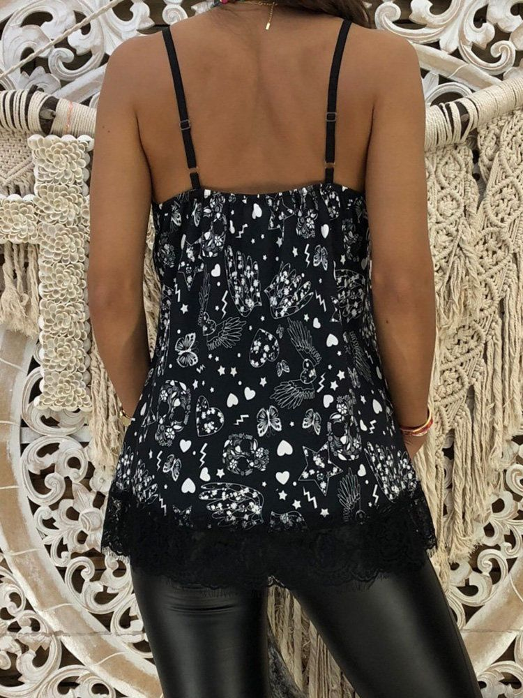 Floral Lace Patchwork Spaghetti Straps Tank Tops