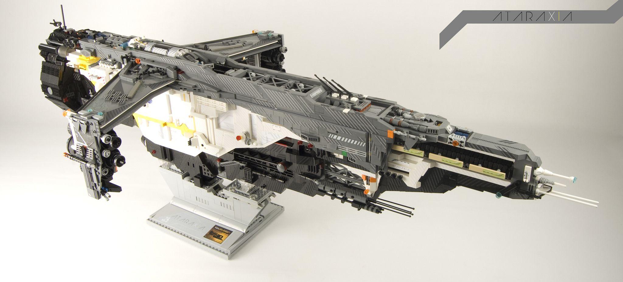 Ataraxia 11 on stand. Lego, Lego ship, Lego design
