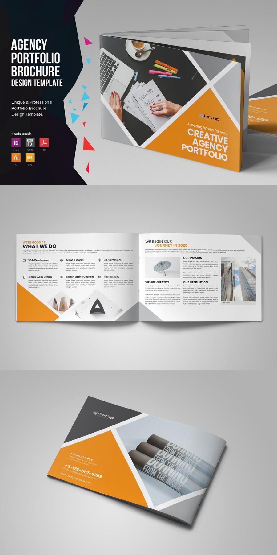 Digital Agency Portfolio Brochure V2 In 2020 Brochure Design Template Portfolio Brochures Brochure