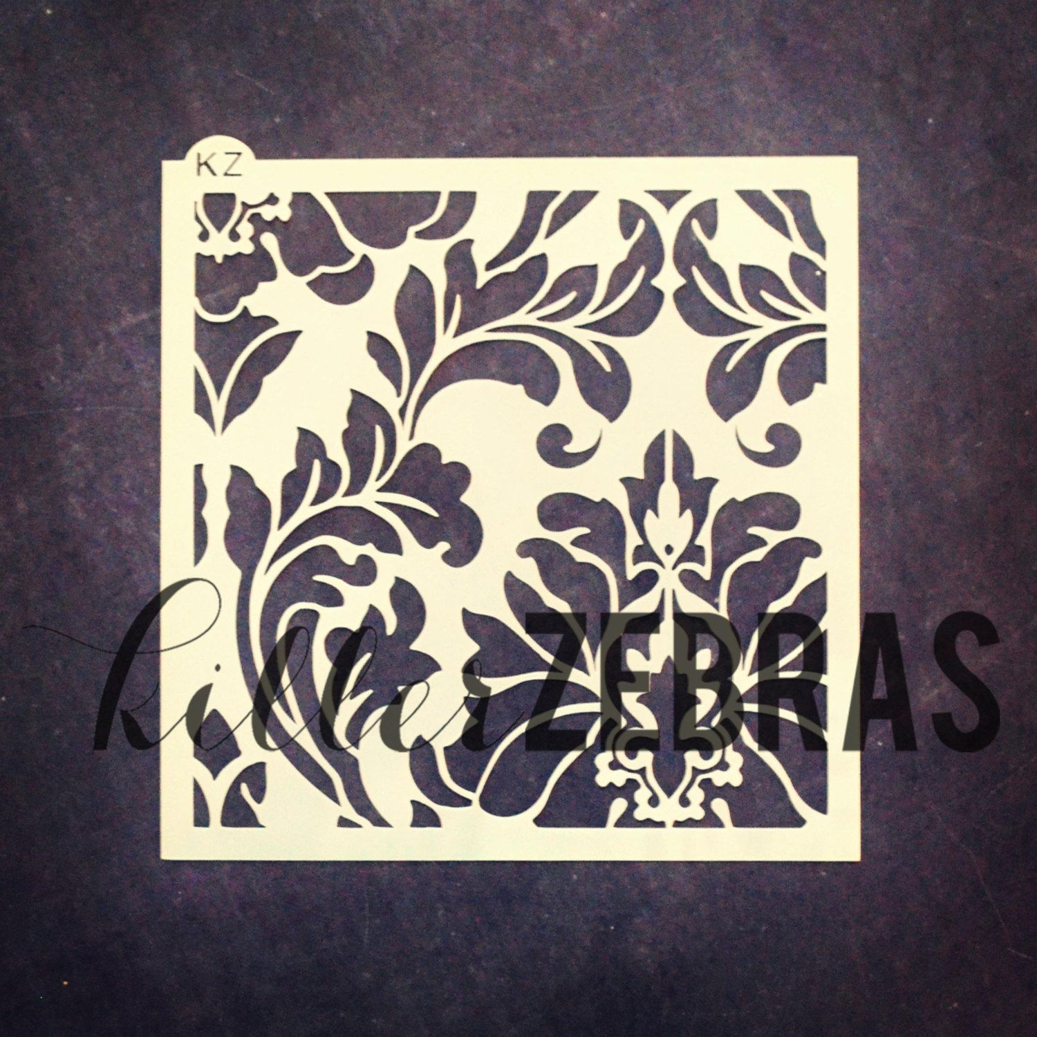 Large Damask 5.5 x 5.5 Stencil by KillerZebras on Etsy