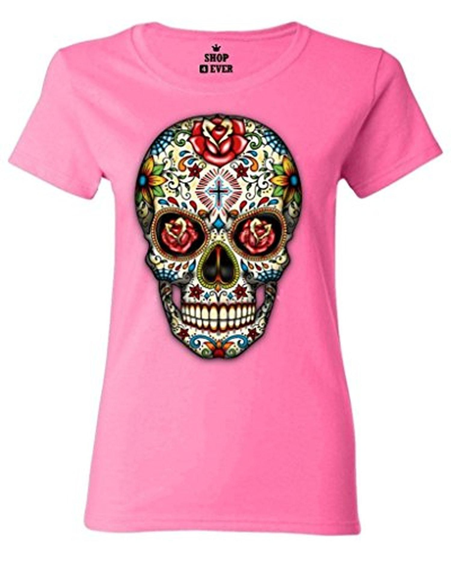 Sugar Skull Roses Women T Shirt Day of Dead Shirts #16553 Large Azalea Pink - Brought to you by Avarsha.com