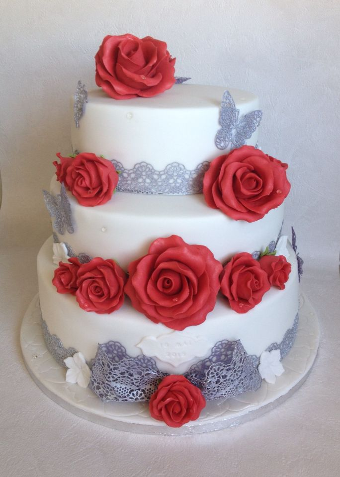 Rubis 40th Anniversaire De Mariage Cake Topper-Personnalisé-Ruby Wedding-Icing