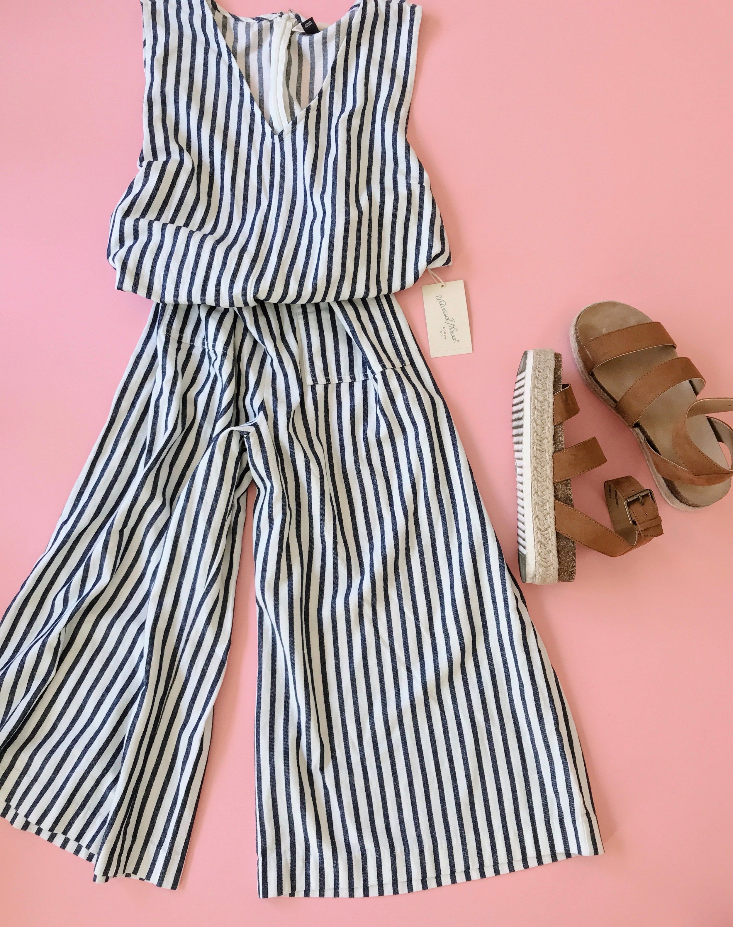 b7e3c04e1d9 Target Line Universal Threads Striped Jumpsuit and faux leather platform  sandals on pink background