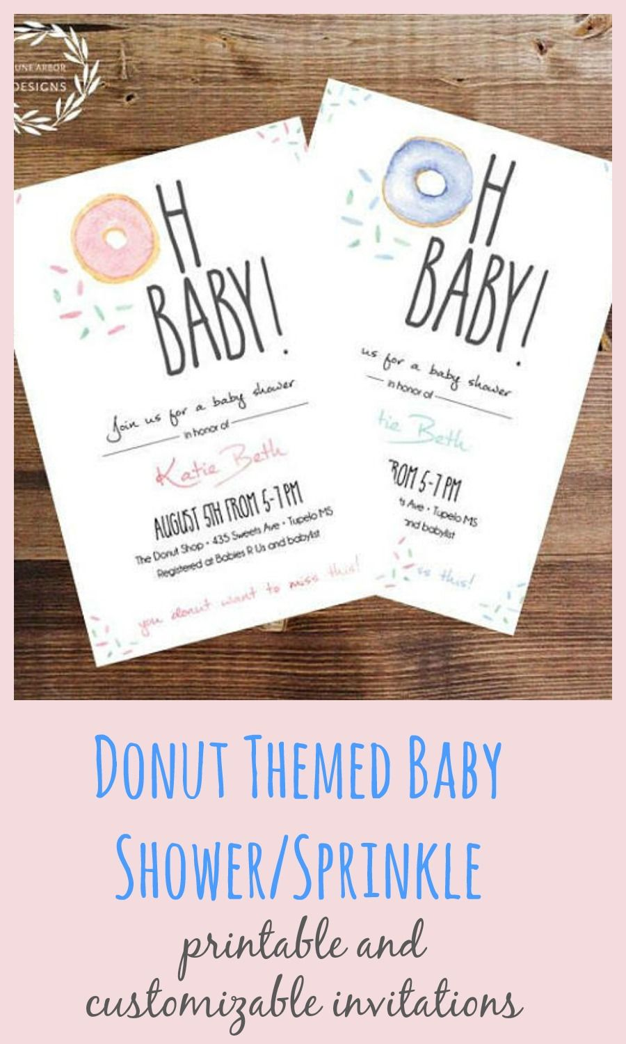 Donut Themed Baby Shower Invitations That Can Be Printed At