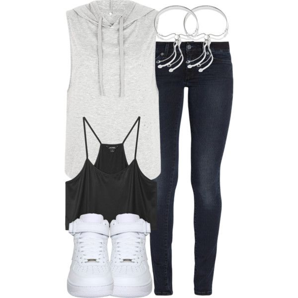 Liam Inspired Outfit with Requested Sneakers by veterization on Polyvore featuring Mode, Monki, 7 For All Mankind, NIKE and Monica Vinader