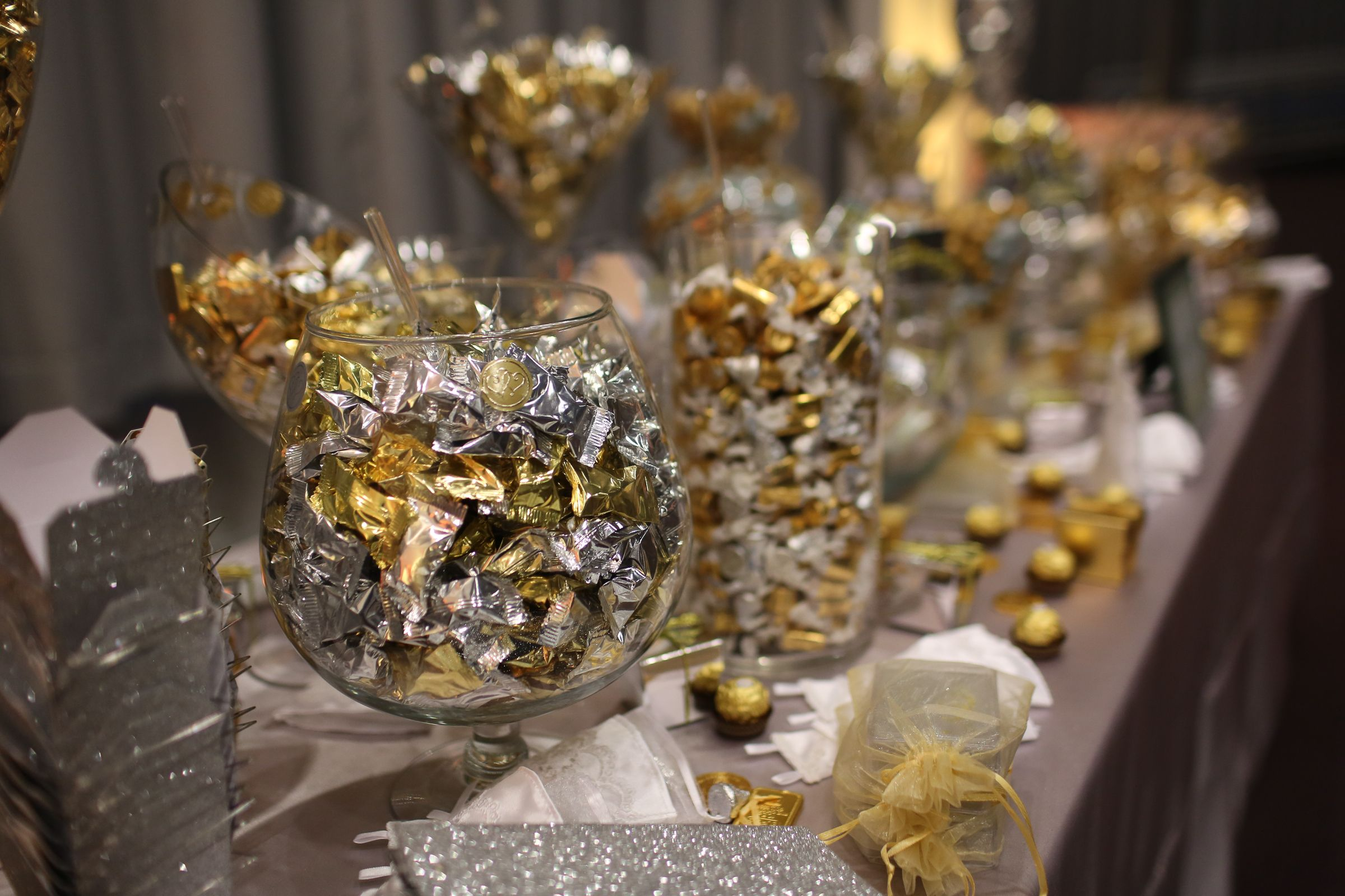 Sweet amp sparkly wedding candy buffet pictures to pin on pinterest - Gold And Silver Candy Buffet
