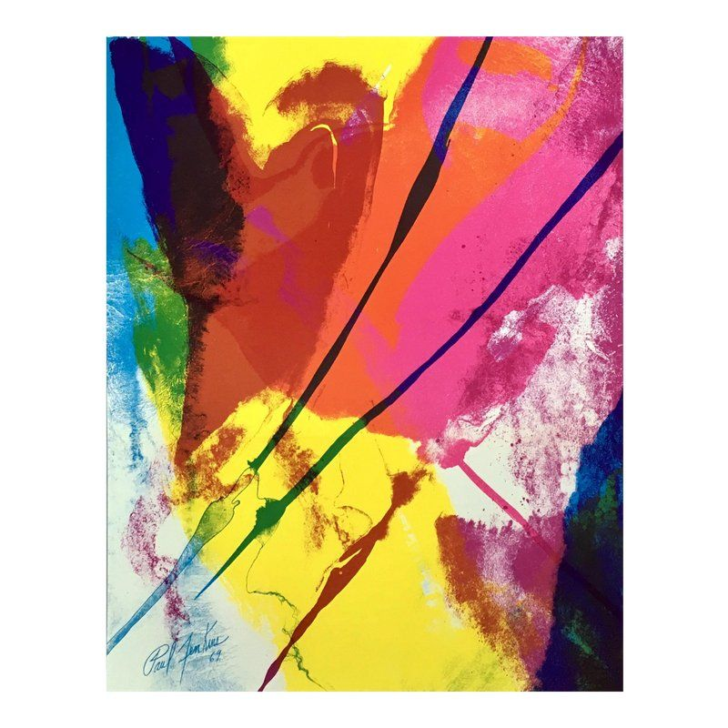 1971 abstract lithograph print by paul jenkins with