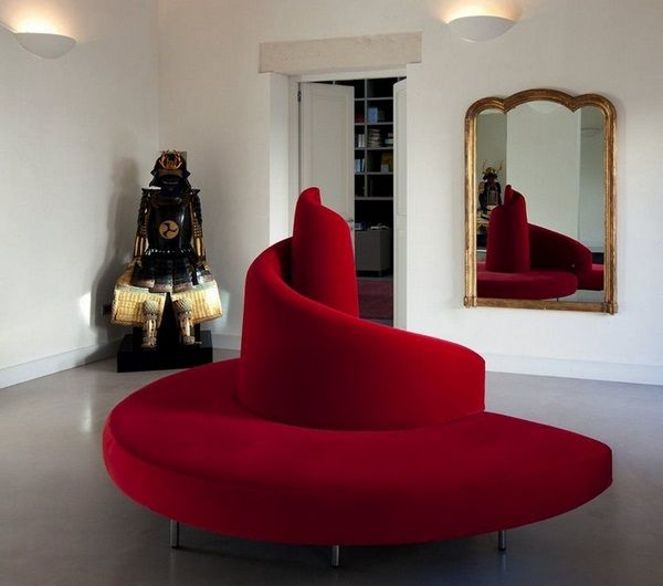 round sofas modern spiral position red TATLIN Mario Cananzi