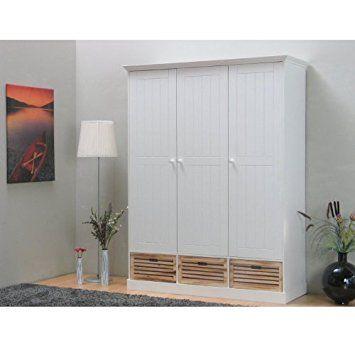 3-türiger Kleiderschrank PAULINA in weiß Schlafzimmer - schlafzimmer kiefer weiß