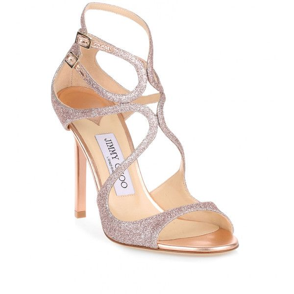 37f133b78223 Jimmy Choo Lang 100 Tea Rose Fine Glitter Sandal (780 CAD) ❤ liked on  Polyvore featuring shoes