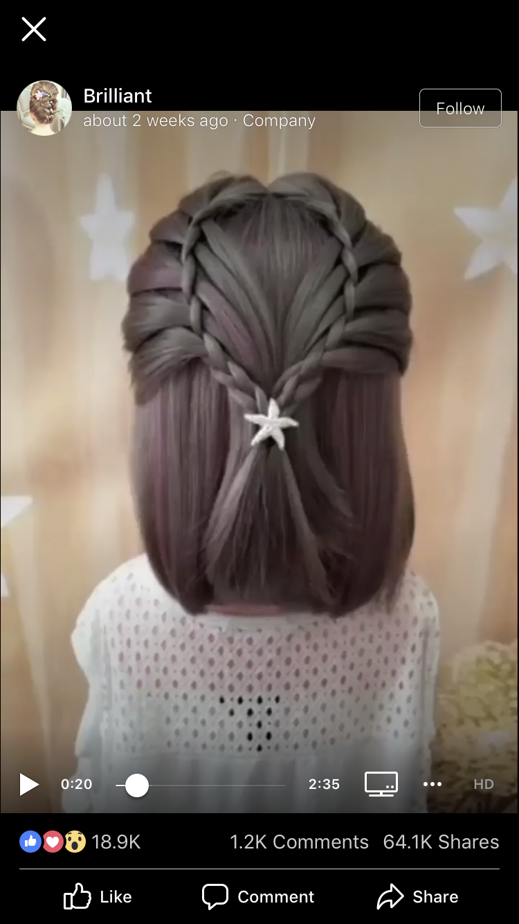 Braid with faux waterfall pull-through. Facebook video saved 12/12