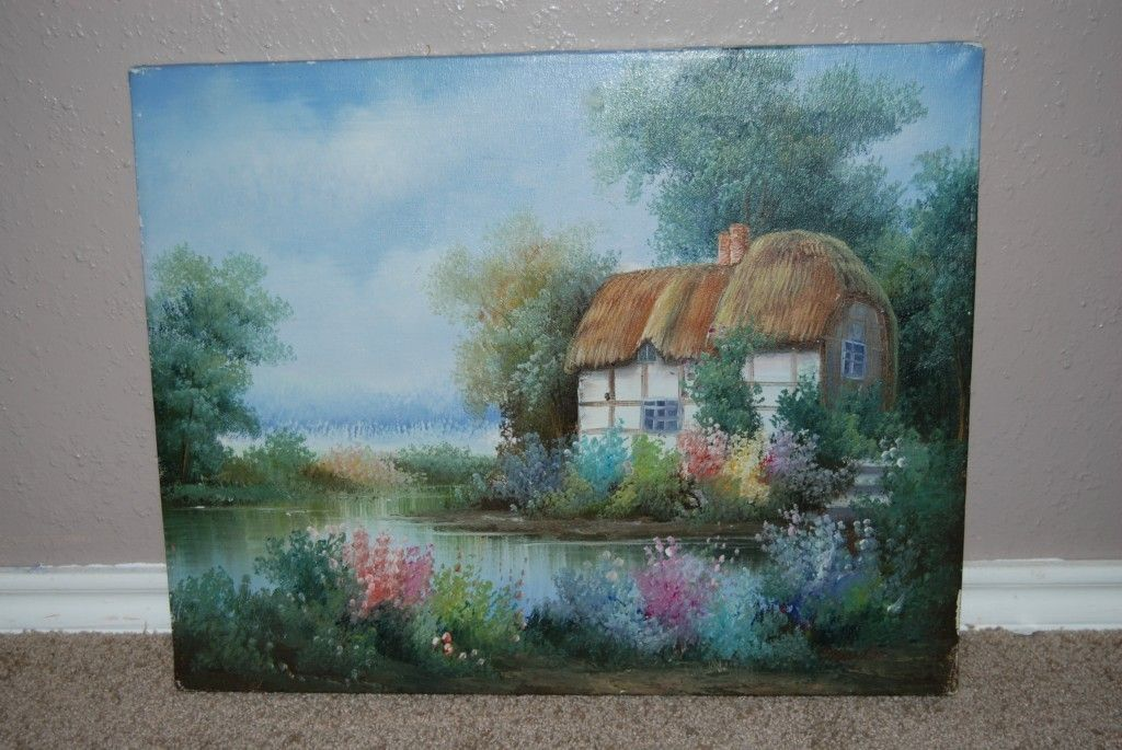 Original Oil Summer Cottage Painting Signed By Artist