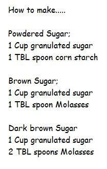 recipe: 1 cup granulated sugar to powdered sugar [39]