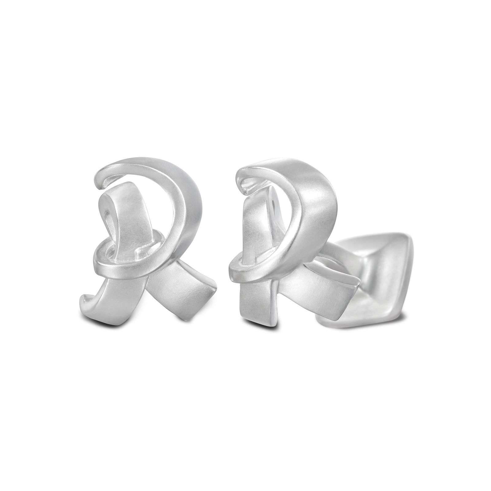 Signature Sterling Silver Cuff Link In Mist Finish Letter R