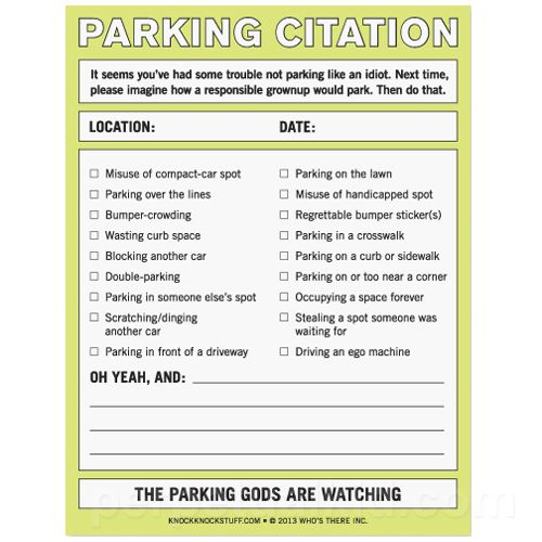 Parking tickets for assholes hope