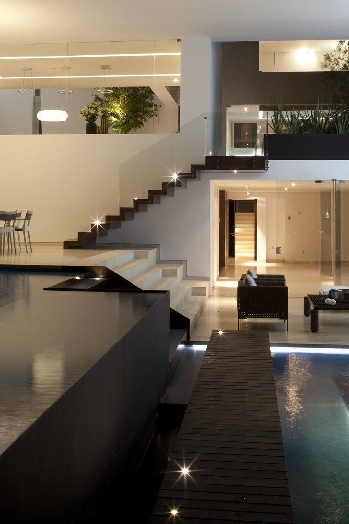 Modern interior design open plan house with an indoor swimming pool isn   it stunning stylishhome also rh co pinterest